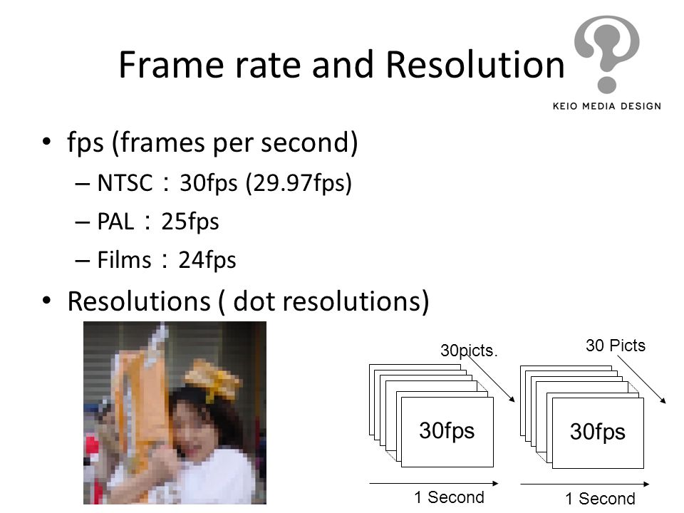 Frame rate and Resolution fps (frames per second) – NTSC 30fps (29.97fps) – PAL 25fps – Films 24fps Resolutions ( dot resolutions) 1 Second 30picts. 3