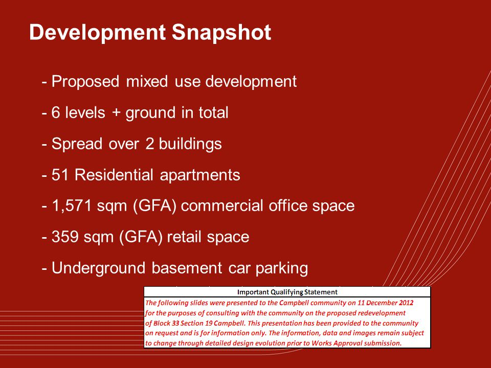 Development Snapshot - Proposed mixed use development - 6 levels + ground in total - Spread over 2 buildings - 51 Residential apartments - 1,571 sqm (GFA) commercial office space - 359 sqm (GFA) retail space - Underground basement car parking