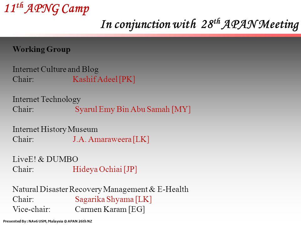 Presented By : NAv6 USM, Malaysia @ APAN 26th NZ 11 th APNG Camp In conjunction with 28 th APAN Meeting Program Committee Chair:Justinus Andjarwirawan [ID] Vice-chair:Manutsiri Chansutthirangkool [TH] Members: Wei Wei [CN], Nguyen Viet Son [VN] Fellowship Committee Chair:Ting Liu [CN] Vice-chair:Kashif Adeel [PK] Members:Fransisca Elsa Djoenaidi [ID], Nisarat Tunsakul [TH] Sponsorship Committee Chair:Tommy Matsumoto [JP] Vice-chair: Tommy Matsumoto [JP] Members: Tommy Matsumoto [JP]