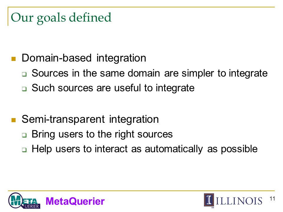 MetaQuerier 11 Our goals defined Domain-based integration Sources in the same domain are simpler to integrate Such sources are useful to integrate Semi-transparent integration Bring users to the right sources Help users to interact as automatically as possible