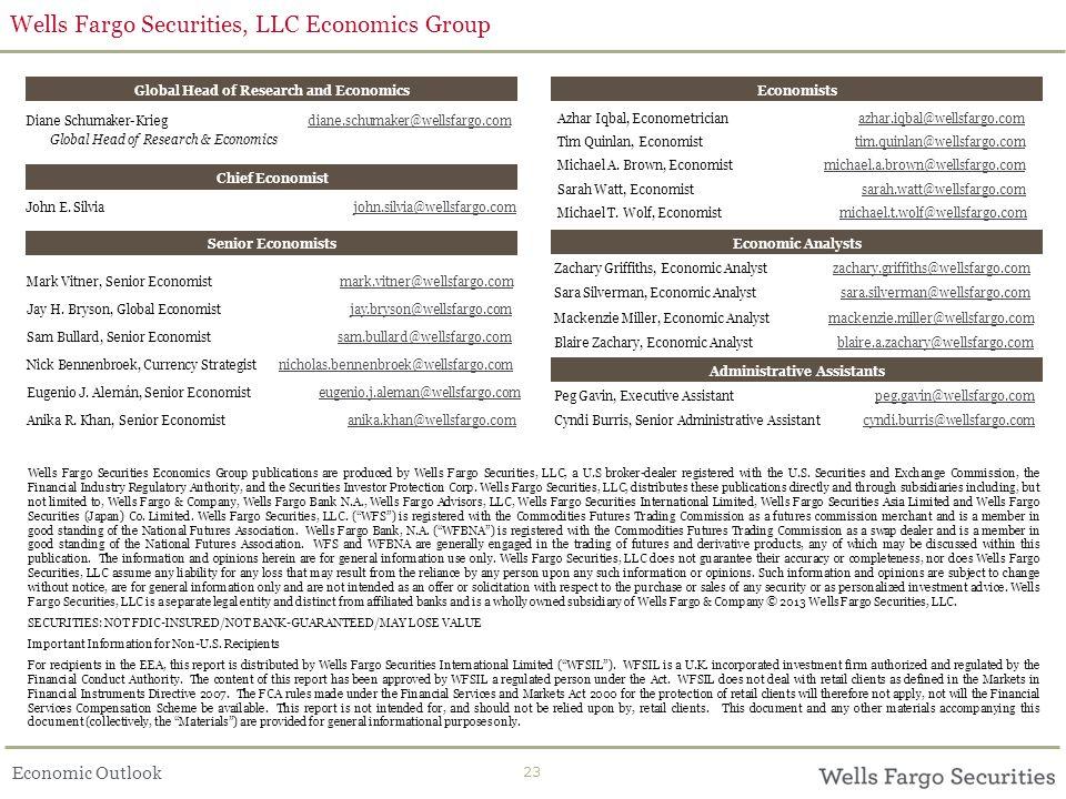 Economic Outlook Wells Fargo Securities, LLC Economics Group 23 John E.