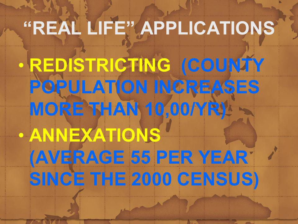 REAL LIFE APPLICATIONS REDISTRICTING (COUNTY POPULATION INCREASES MORE THAN 10,00/YR) ANNEXATIONS (AVERAGE 55 PER YEAR SINCE THE 2000 CENSUS)