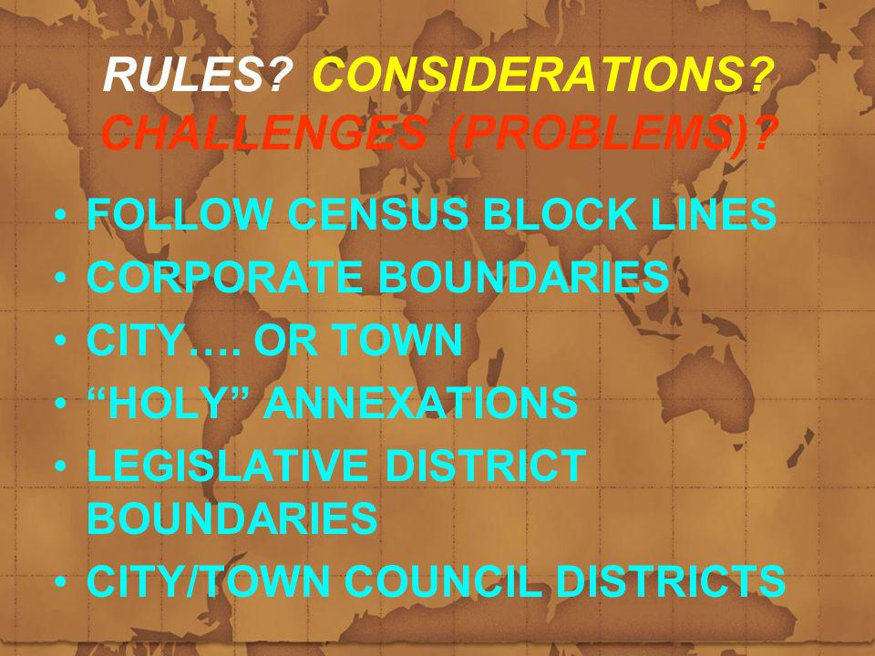 RULES. CONSIDERATIONS. CHALLENGES (PROBLEMS).