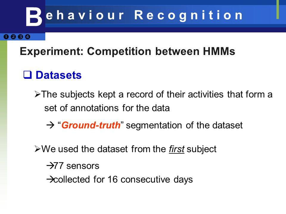 Experiment: Competition between HMMs Datasets The subjects kept a record of their activities that form a set of annotations for the data Ground-truth segmentation of the dataset We used the dataset from the first subject 77 sensors collected for 16 consecutive days B e h a v i o u r R e c o g n i t i o n