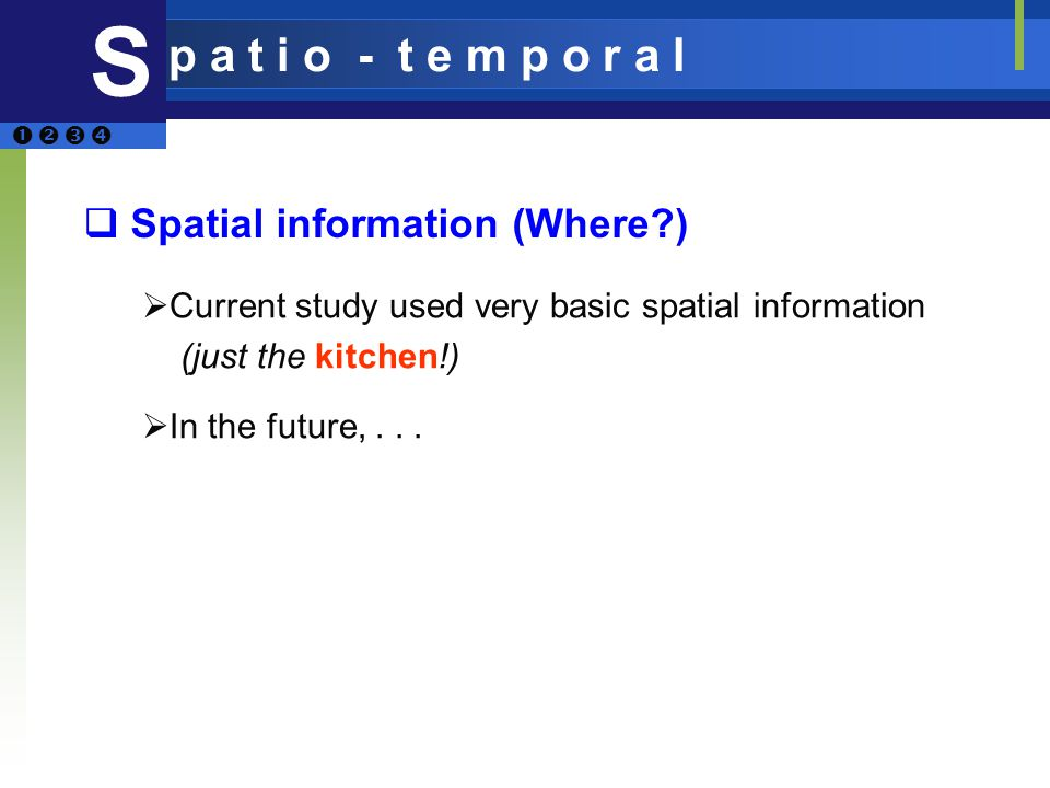 Spatial information (Where ) S p a t i o - t e m p o r a l Current study used very basic spatial information (just the kitchen!) In the future,...