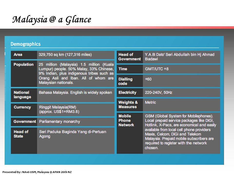 Presented By : NAv6 USM, Malaysia @ APAN 26th NZ Malaysia @ a Glance