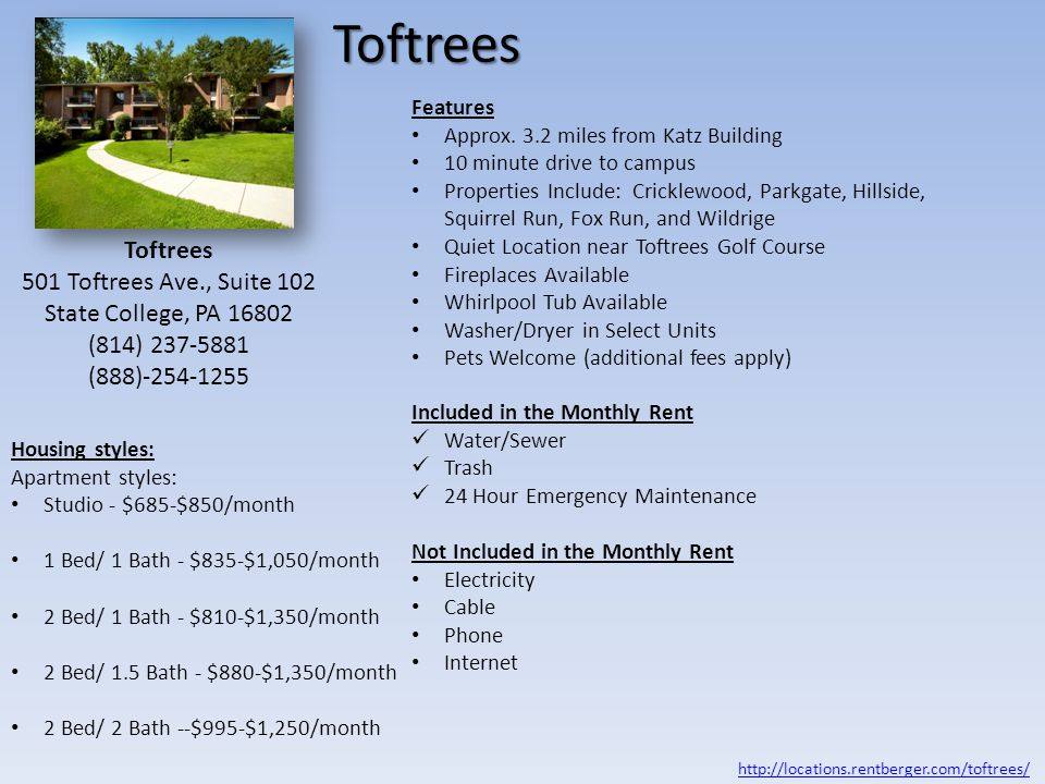 Toftrees Apartments Features Approx.