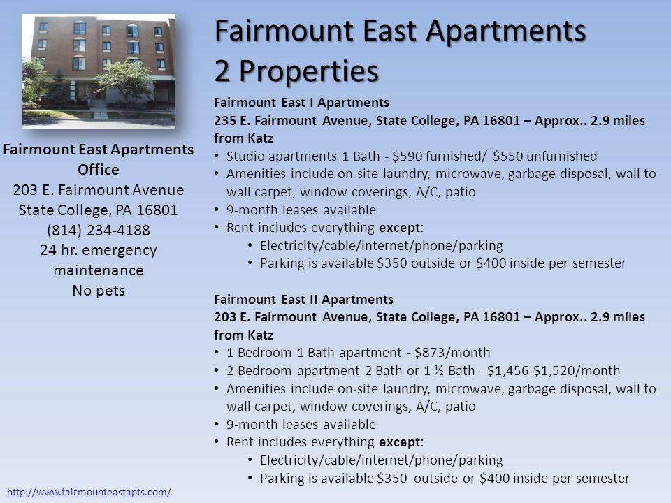Fairmount East Apartments 3 Properties West Hamilton Avenue 112 W.