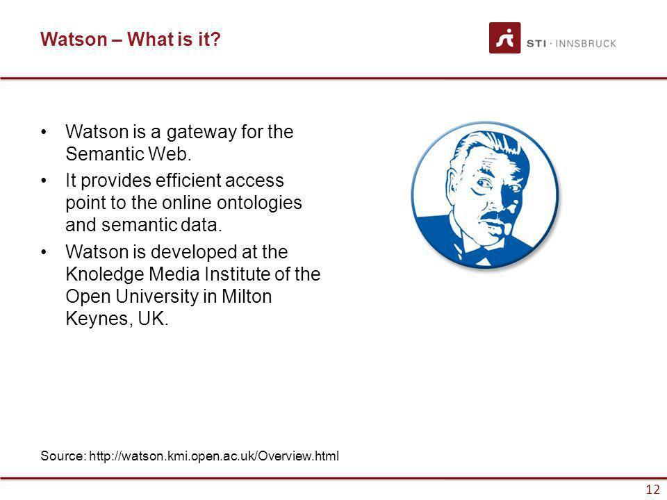 www.sti-innsbruck.at 12 Watson – What is it. Watson is a gateway for the Semantic Web.