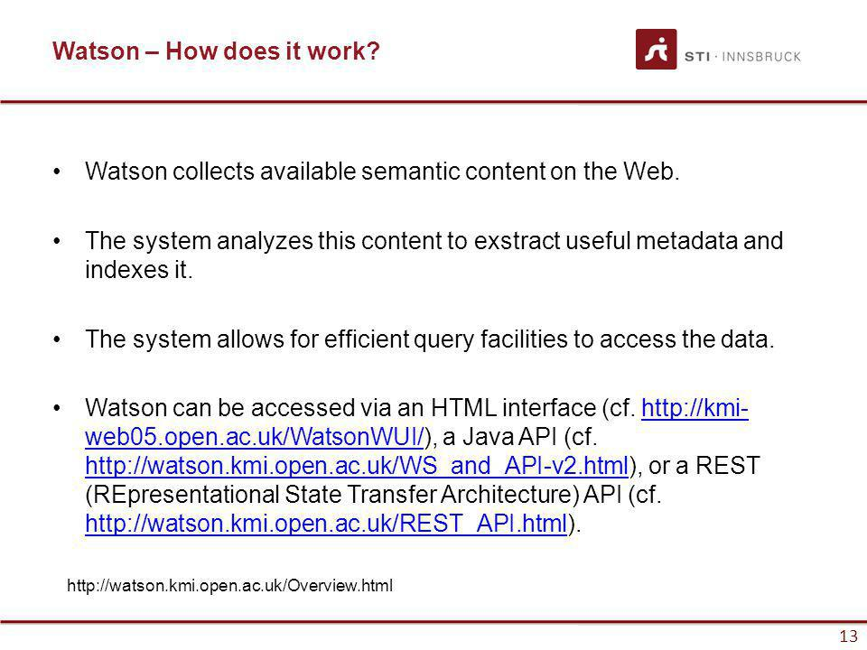 www.sti-innsbruck.at 13 Watson – How does it work? Watson collects available semantic content on the Web. The system analyzes this content to exstract