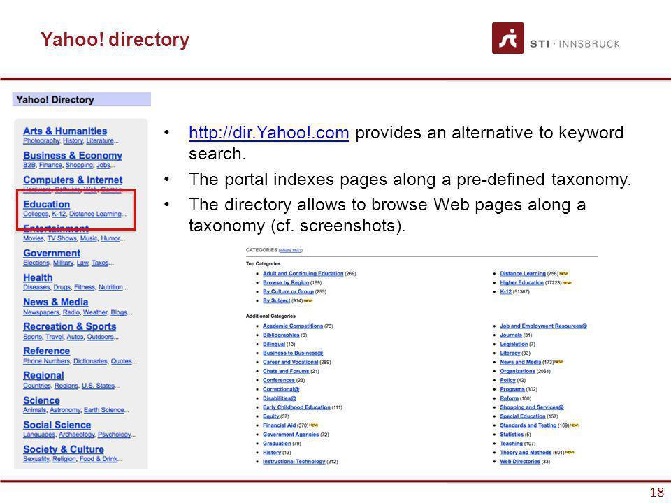 www.sti-innsbruck.at 18 Yahoo! directory http://dir.Yahoo!.com provides an alternative to keyword search.http://dir.Yahoo!.com The portal indexes page