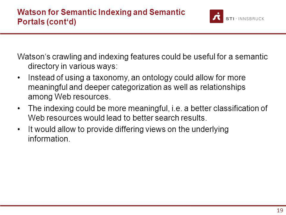 www.sti-innsbruck.at 19 Watson for Semantic Indexing and Semantic Portals (contd) Watsons crawling and indexing features could be useful for a semanti