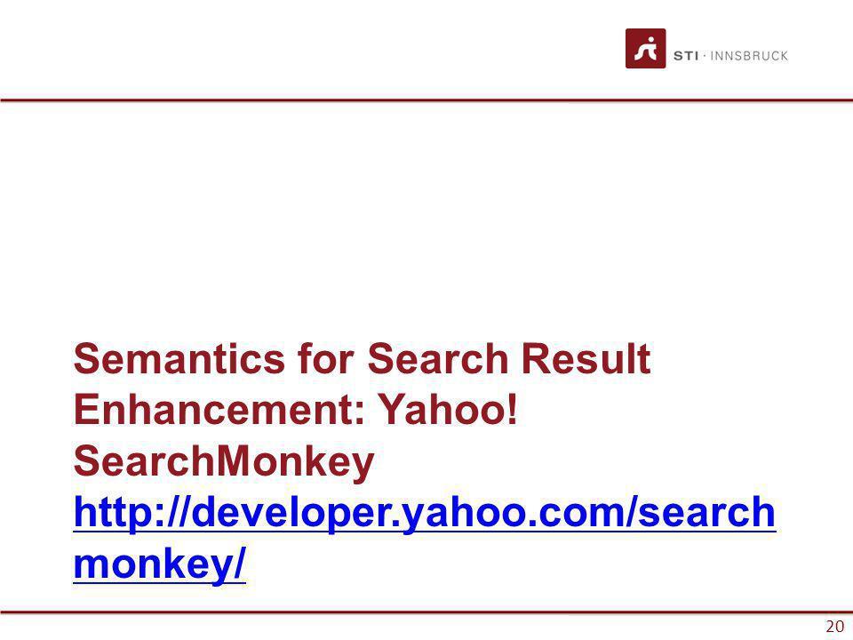 www.sti-innsbruck.at 20 Semantics for Search Result Enhancement: Yahoo.