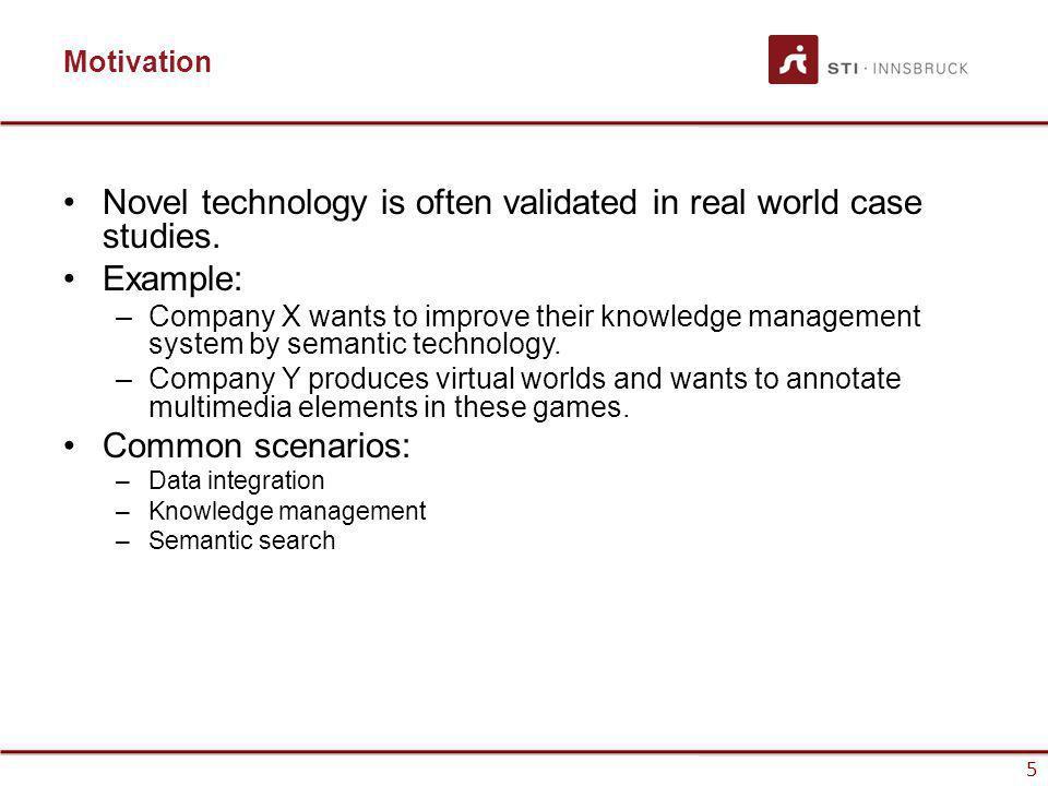 www.sti-innsbruck.at 5 Motivation Novel technology is often validated in real world case studies.
