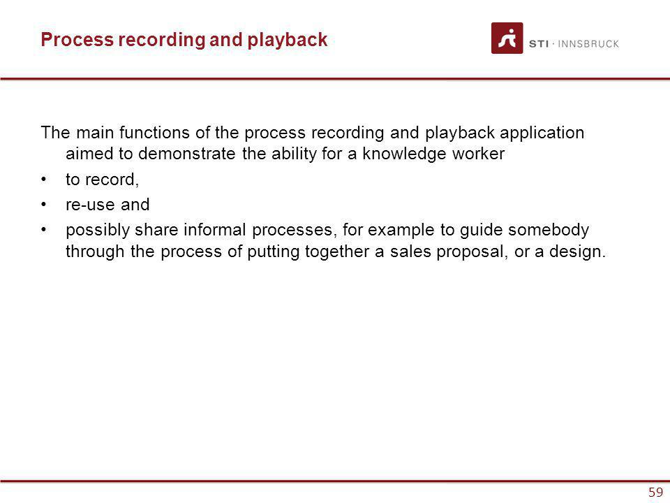 www.sti-innsbruck.at 59 Process recording and playback The main functions of the process recording and playback application aimed to demonstrate the ability for a knowledge worker to record, re-use and possibly share informal processes, for example to guide somebody through the process of putting together a sales proposal, or a design.