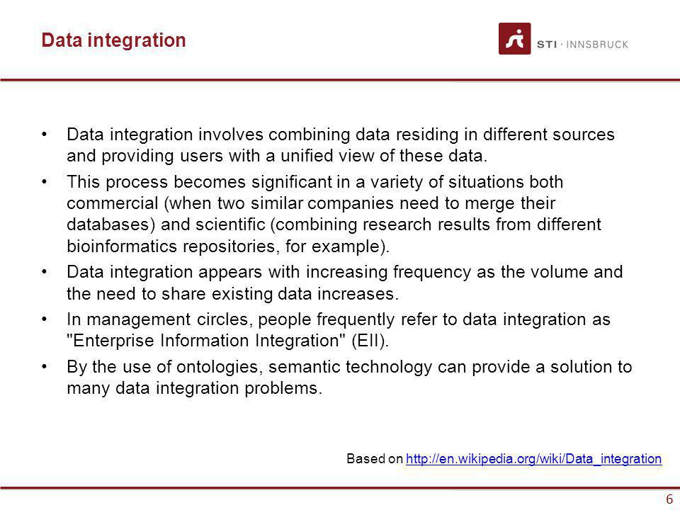 www.sti-innsbruck.at 6 Data integration Data integration involves combining data residing in different sources and providing users with a unified view of these data.