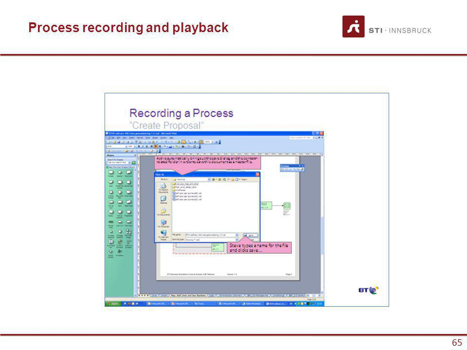www.sti-innsbruck.at 65 Process recording and playback 65