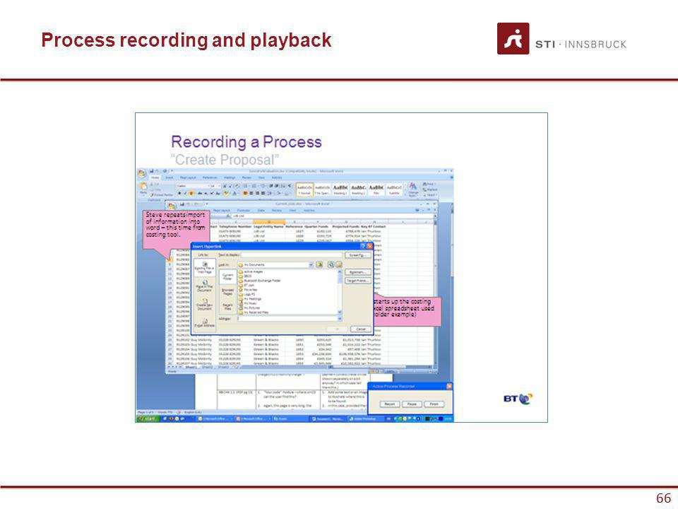 www.sti-innsbruck.at 66 Process recording and playback 66
