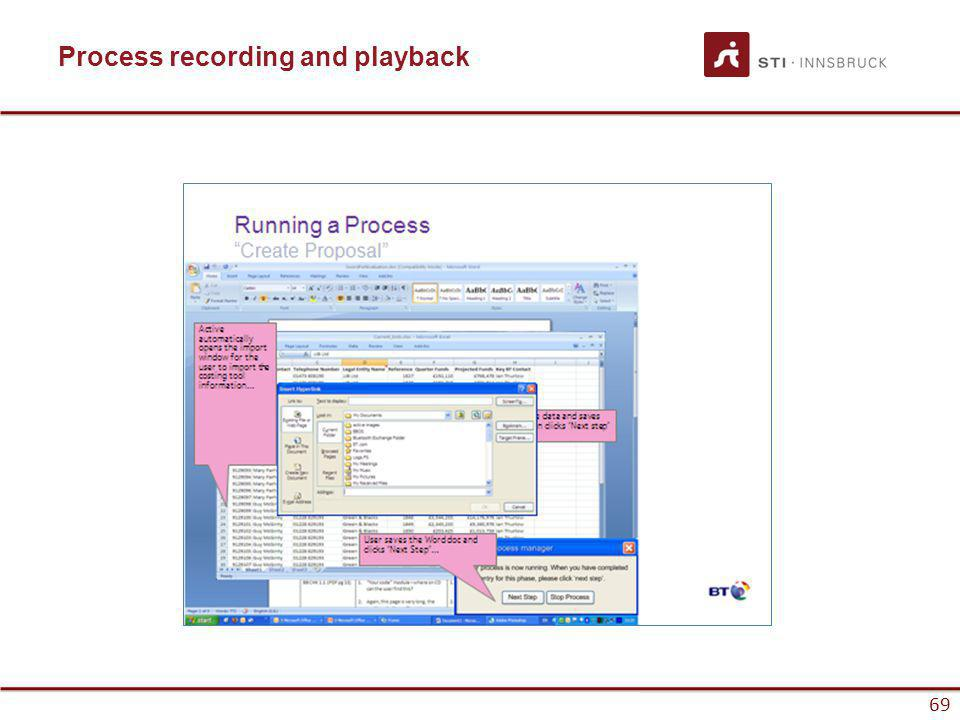 www.sti-innsbruck.at 69 Process recording and playback 69