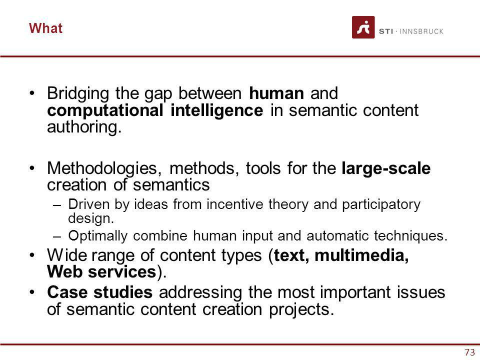 www.sti-innsbruck.at 73 What Bridging the gap between human and computational intelligence in semantic content authoring. Methodologies, methods, tool