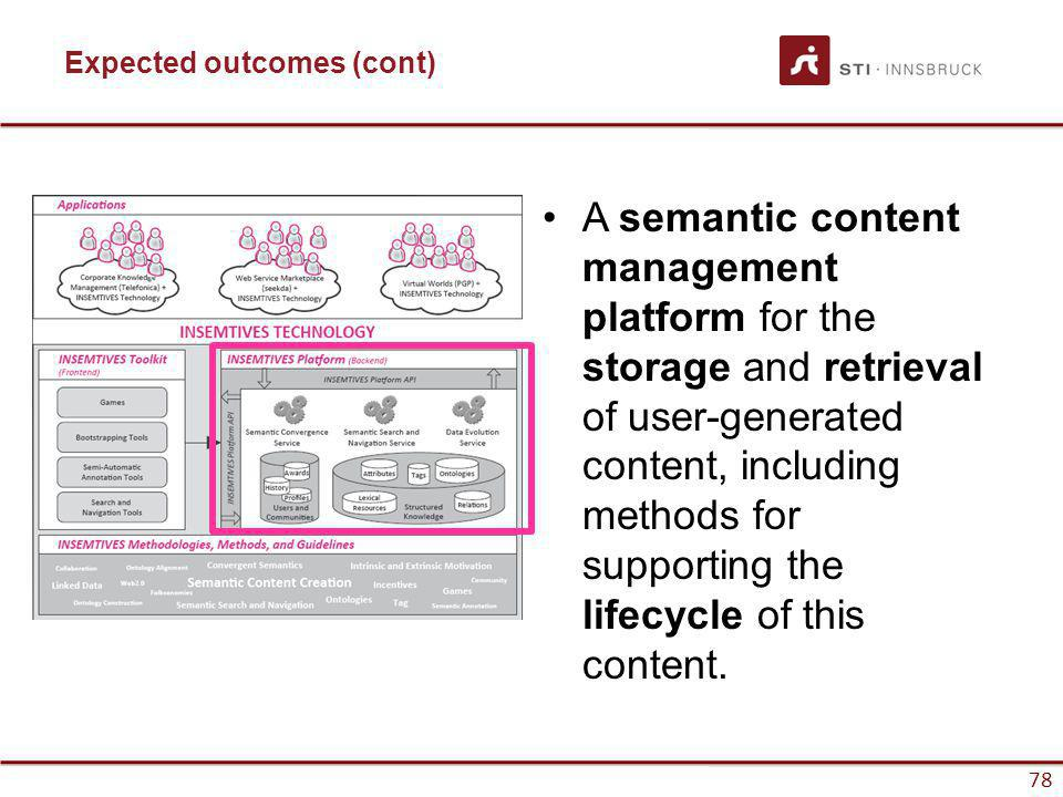 www.sti-innsbruck.at 78 www.insemtives.eu Expected outcomes (cont) A semantic content management platform for the storage and retrieval of user-generated content, including methods for supporting the lifecycle of this content.