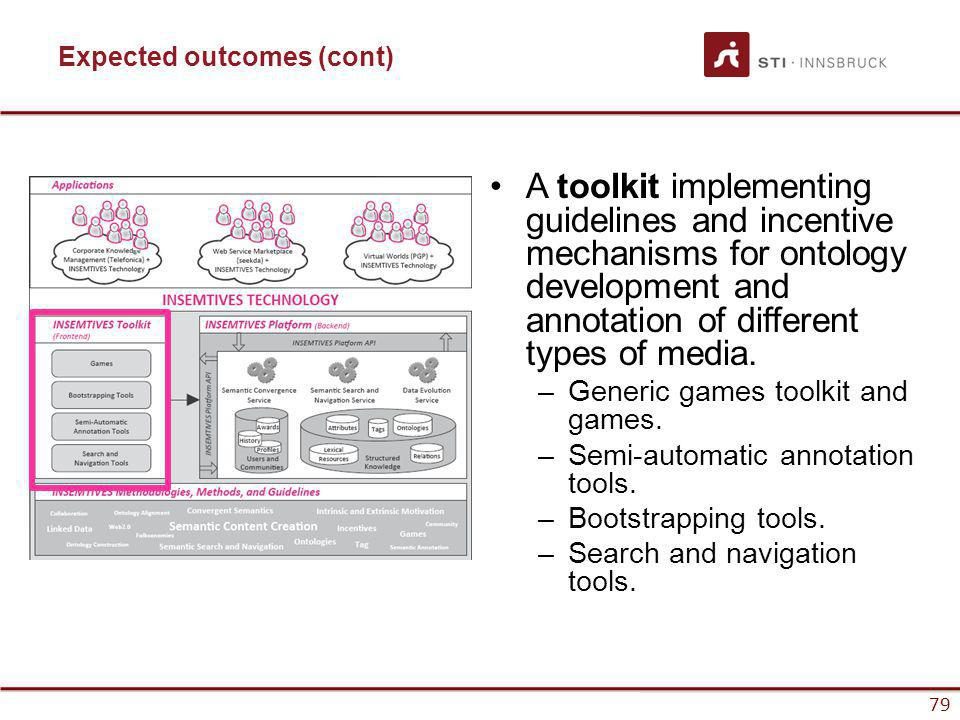 www.sti-innsbruck.at 79 www.insemtives.eu Expected outcomes (cont) A toolkit implementing guidelines and incentive mechanisms for ontology development