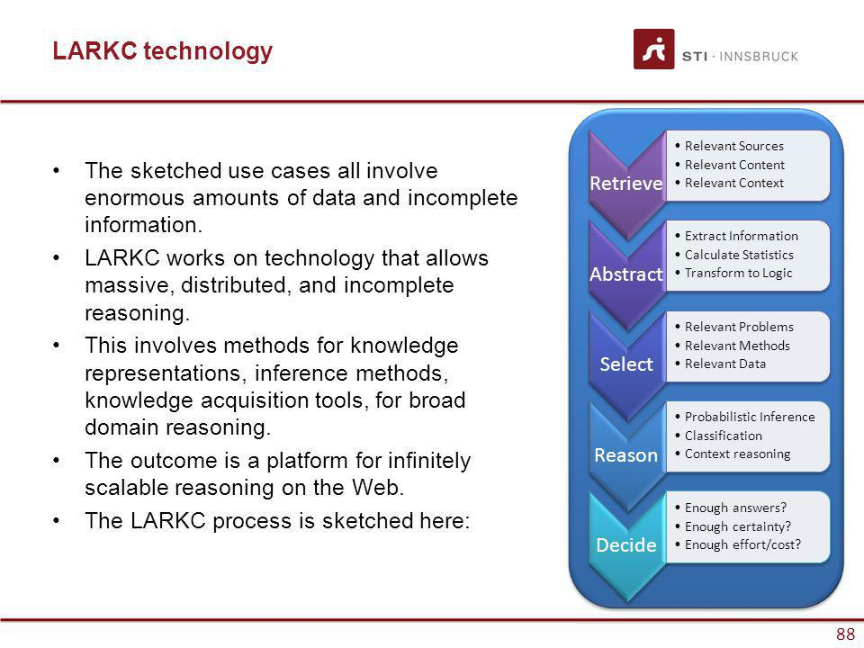 www.sti-innsbruck.at 88 LARKC technology The sketched use cases all involve enormous amounts of data and incomplete information. LARKC works on techno