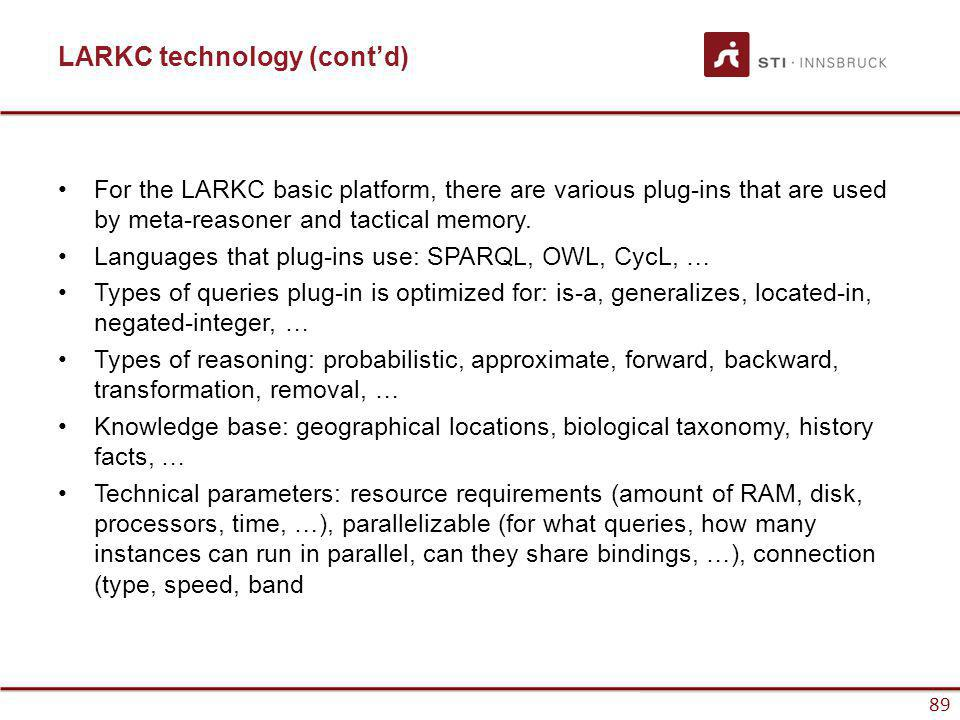 www.sti-innsbruck.at 89 LARKC technology (contd) For the LARKC basic platform, there are various plug-ins that are used by meta-reasoner and tactical memory.