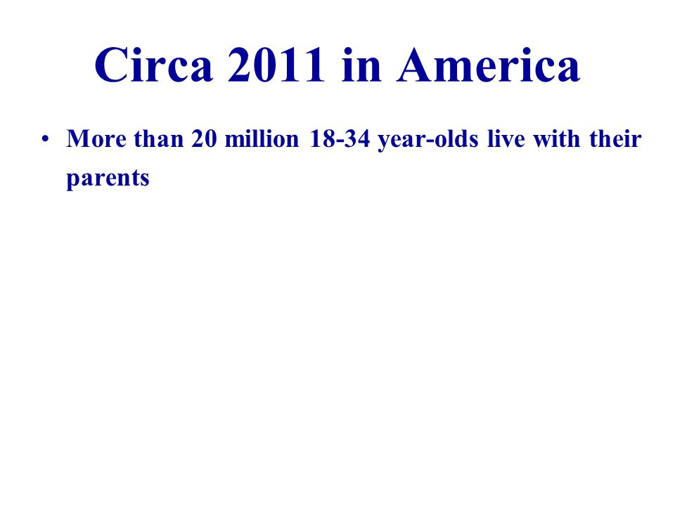 Circa 2011 in America More than 20 million 18-34 year-olds live with their parents