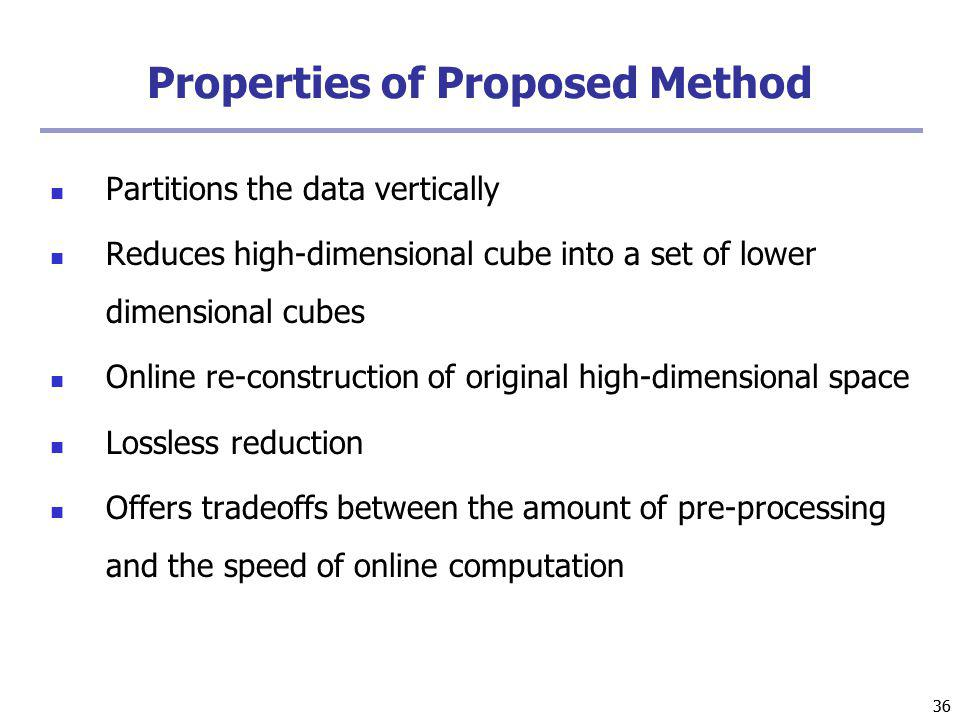 36 Properties of Proposed Method Partitions the data vertically Reduces high-dimensional cube into a set of lower dimensional cubes Online re-construction of original high-dimensional space Lossless reduction Offers tradeoffs between the amount of pre-processing and the speed of online computation