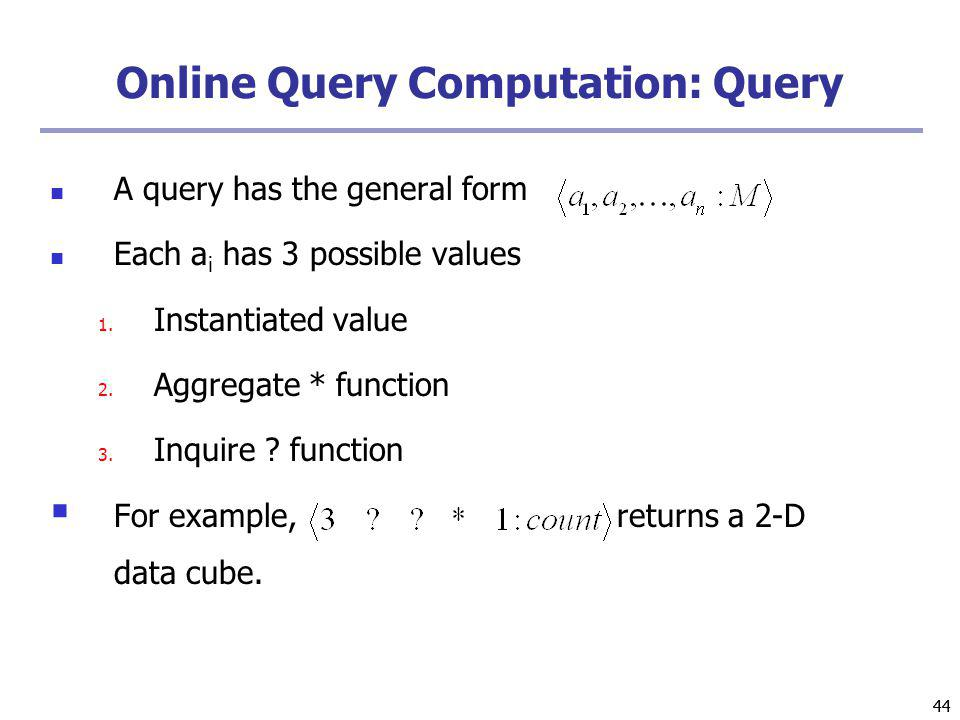 44 Online Query Computation: Query A query has the general form Each a i has 3 possible values 1.