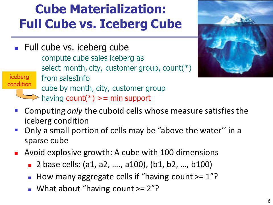 66 Cube Materialization: Full Cube vs. Iceberg Cube Full cube vs.