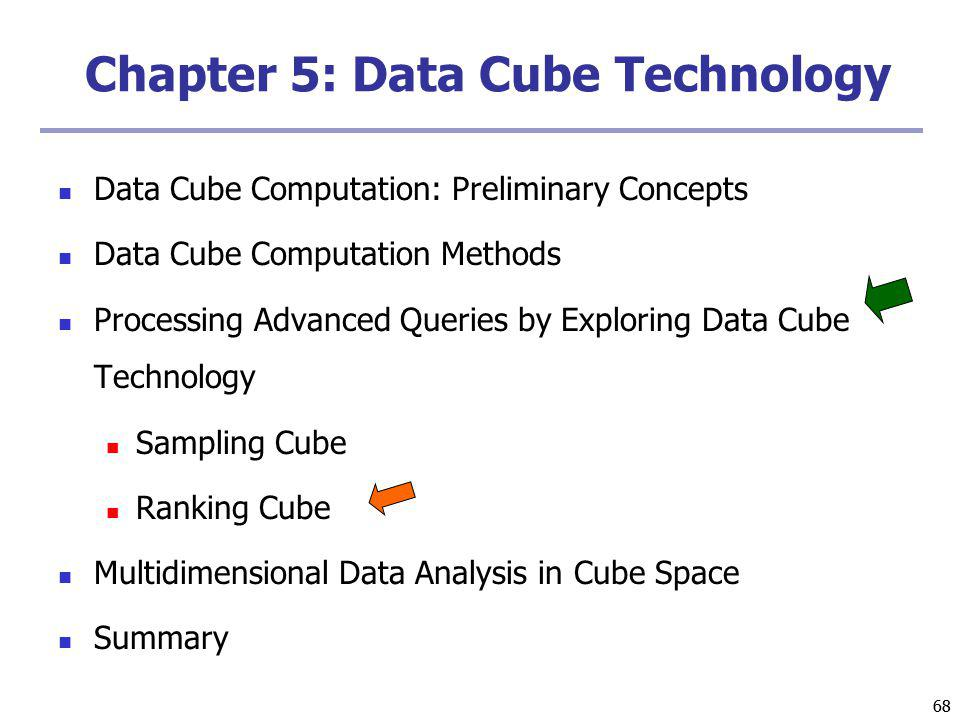 68 Chapter 5: Data Cube Technology Data Cube Computation: Preliminary Concepts Data Cube Computation Methods Processing Advanced Queries by Exploring Data Cube Technology Sampling Cube Ranking Cube Multidimensional Data Analysis in Cube Space Summary
