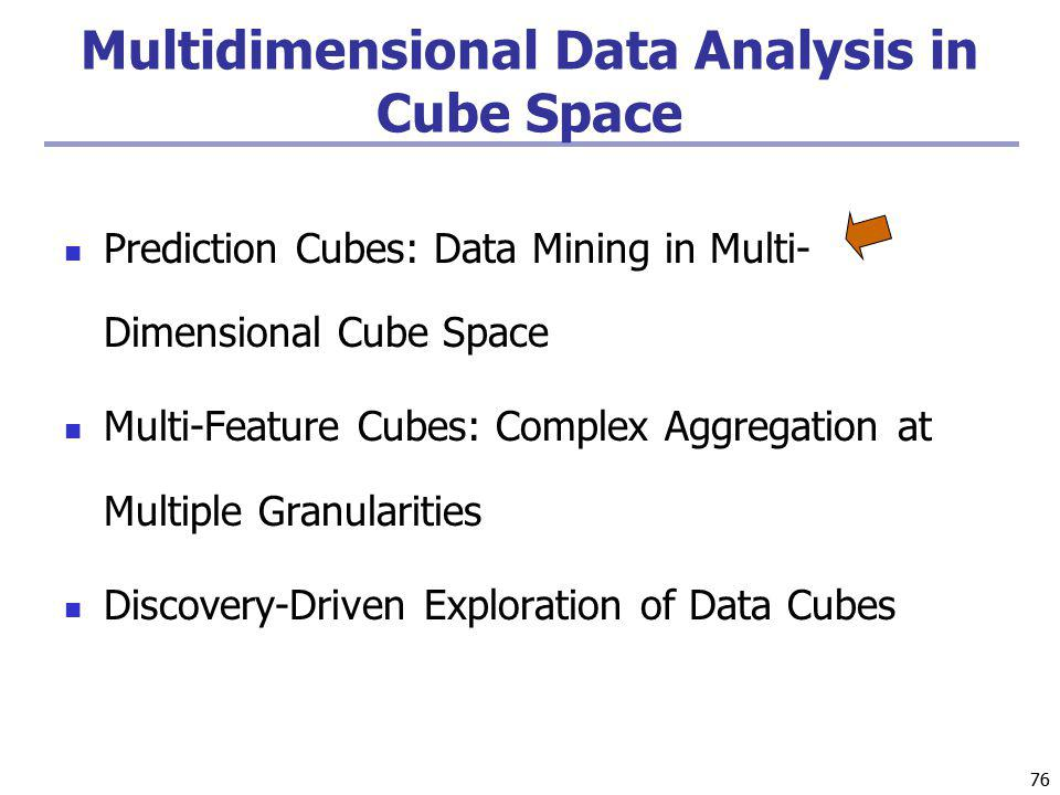 76 Multidimensional Data Analysis in Cube Space Prediction Cubes: Data Mining in Multi- Dimensional Cube Space Multi-Feature Cubes: Complex Aggregation at Multiple Granularities Discovery-Driven Exploration of Data Cubes