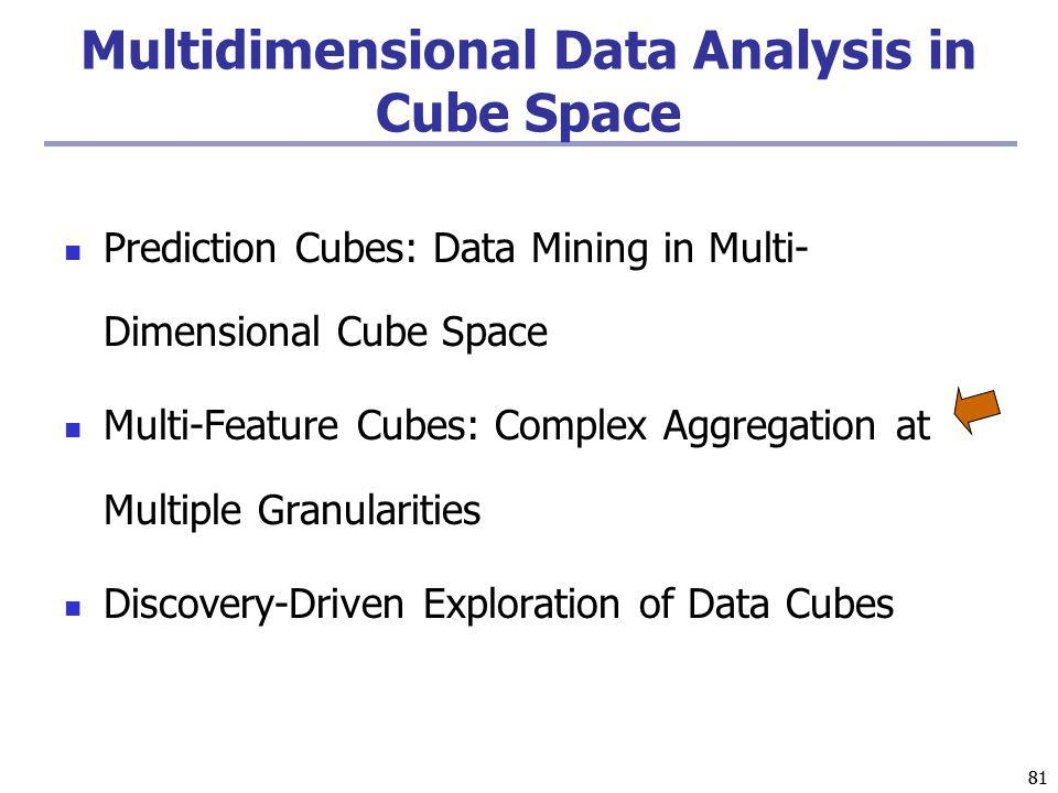 81 Multidimensional Data Analysis in Cube Space Prediction Cubes: Data Mining in Multi- Dimensional Cube Space Multi-Feature Cubes: Complex Aggregation at Multiple Granularities Discovery-Driven Exploration of Data Cubes