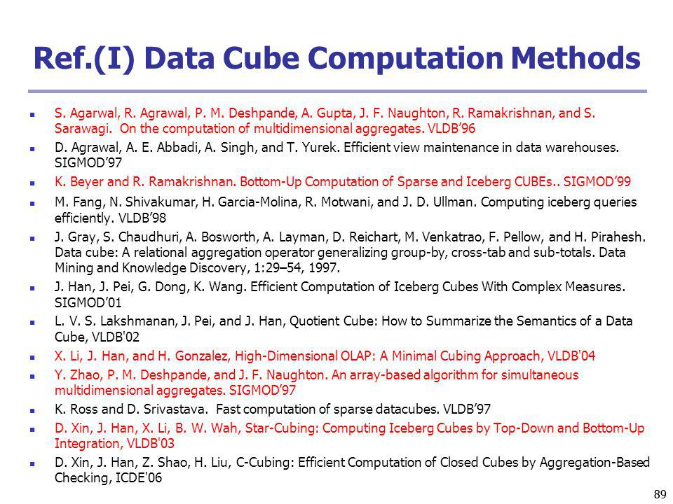 89 Ref.(I) Data Cube Computation Methods S. Agarwal, R.