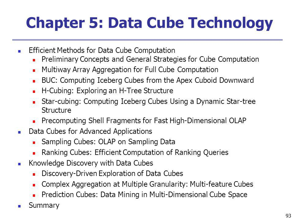 93 Chapter 5: Data Cube Technology Efficient Methods for Data Cube Computation Preliminary Concepts and General Strategies for Cube Computation Multiway Array Aggregation for Full Cube Computation BUC: Computing Iceberg Cubes from the Apex Cuboid Downward H-Cubing: Exploring an H-Tree Structure Star-cubing: Computing Iceberg Cubes Using a Dynamic Star-tree Structure Precomputing Shell Fragments for Fast High-Dimensional OLAP Data Cubes for Advanced Applications Sampling Cubes: OLAP on Sampling Data Ranking Cubes: Efficient Computation of Ranking Queries Knowledge Discovery with Data Cubes Discovery-Driven Exploration of Data Cubes Complex Aggregation at Multiple Granularity: Multi-feature Cubes Prediction Cubes: Data Mining in Multi-Dimensional Cube Space Summary