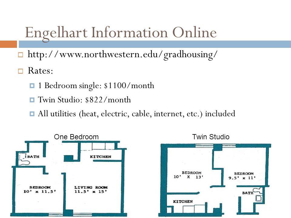 Engelhart Information Online http://www.northwestern.edu/gradhousing/ Rates: 1 Bedroom single: $1100/month Twin Studio: $822/month All utilities (heat