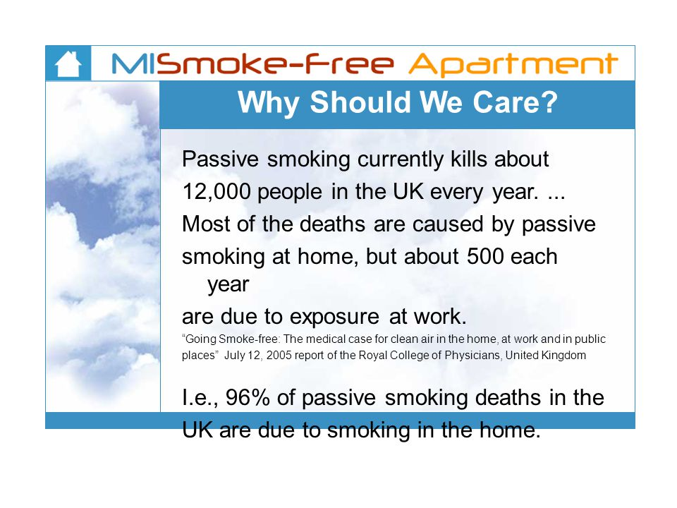 Why Should We Care? Passive smoking currently kills about 12,000 people in the UK every year.... Most of the deaths are caused by passive smoking at h