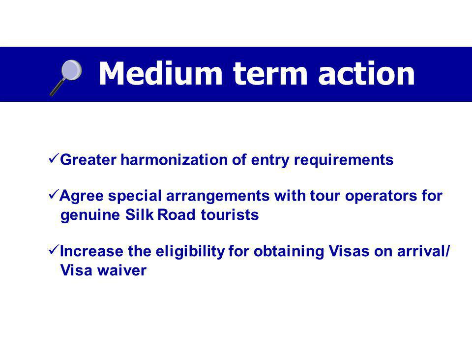 Medium term action Greater harmonization of entry requirements Agree special arrangements with tour operators for genuine Silk Road tourists Increase the eligibility for obtaining Visas on arrival/ Visa waiver