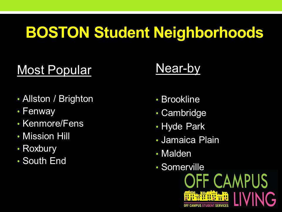BOSTON Student Neighborhoods Most Popular Allston / Brighton Fenway Kenmore/Fens Mission Hill Roxbury South End Near-by Brookline Cambridge Hyde Park