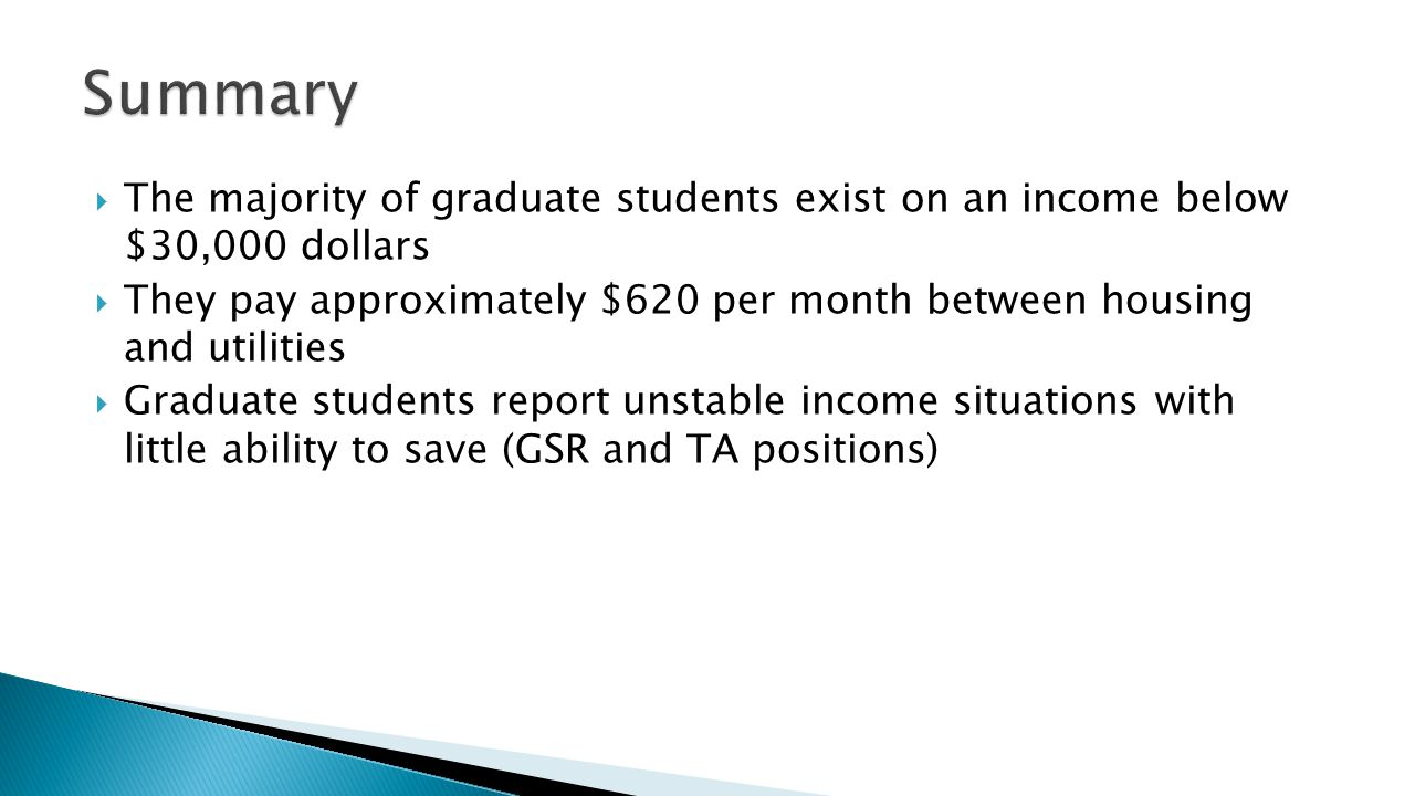 The majority of graduate students exist on an income below $30,000 dollars They pay approximately $620 per month between housing and utilities Graduate students report unstable income situations with little ability to save (GSR and TA positions)