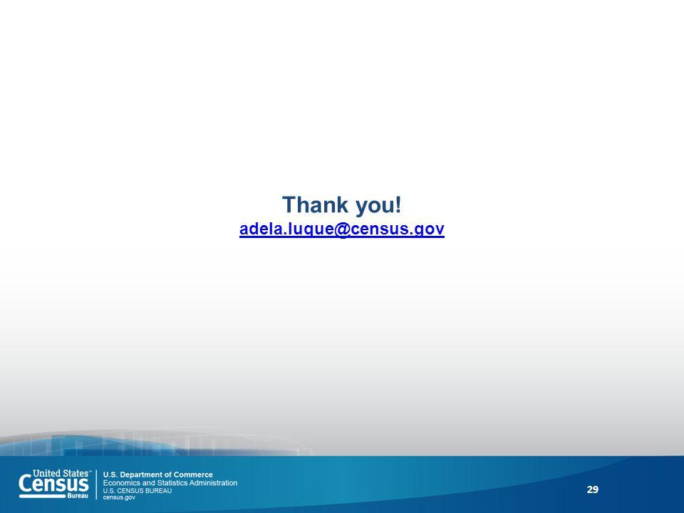 Thank you! adela.luque@census.gov adela.luque@census.gov 29