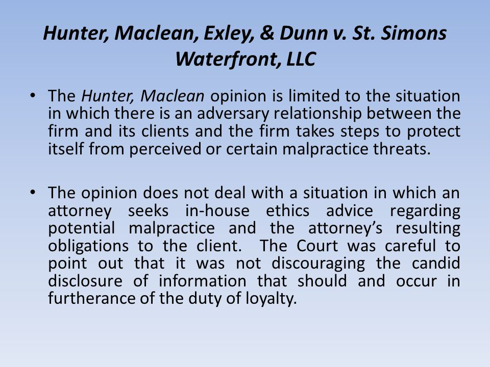 Hunter, Maclean, Exley, & Dunn v. St.