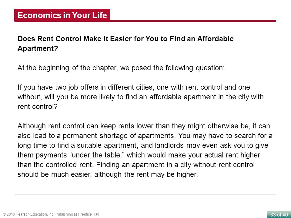 33 of 40 © 2013 Pearson Education, Inc. Publishing as Prentice Hall Does Rent Control Make It Easier for You to Find an Affordable Apartment? At the b