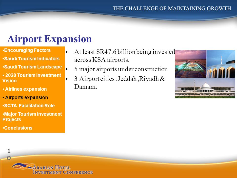 Airport Expansion At least SR47.6 billion being invested across KSA airports. 5 major airports under construction 3 Airport cities :Jeddah,Riyadh & Da