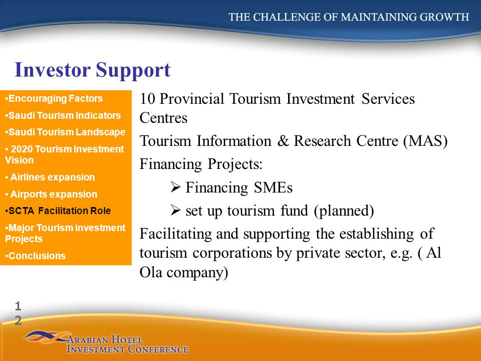 Investor Support 10 Provincial Tourism Investment Services Centres Tourism Information & Research Centre (MAS) Financing Projects: Financing SMEs set