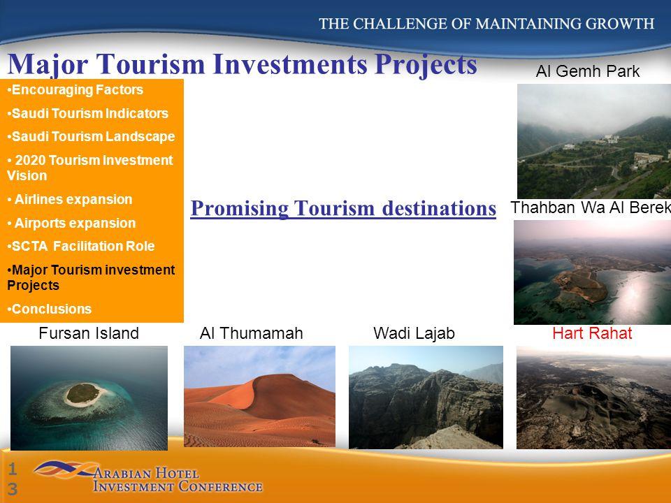 Major Tourism Investments Projects Promising Tourism destinations Al Gemh Park Thahban Wa Al Berek Hart RahatFursan IslandAl ThumamahWadi Lajab Encour