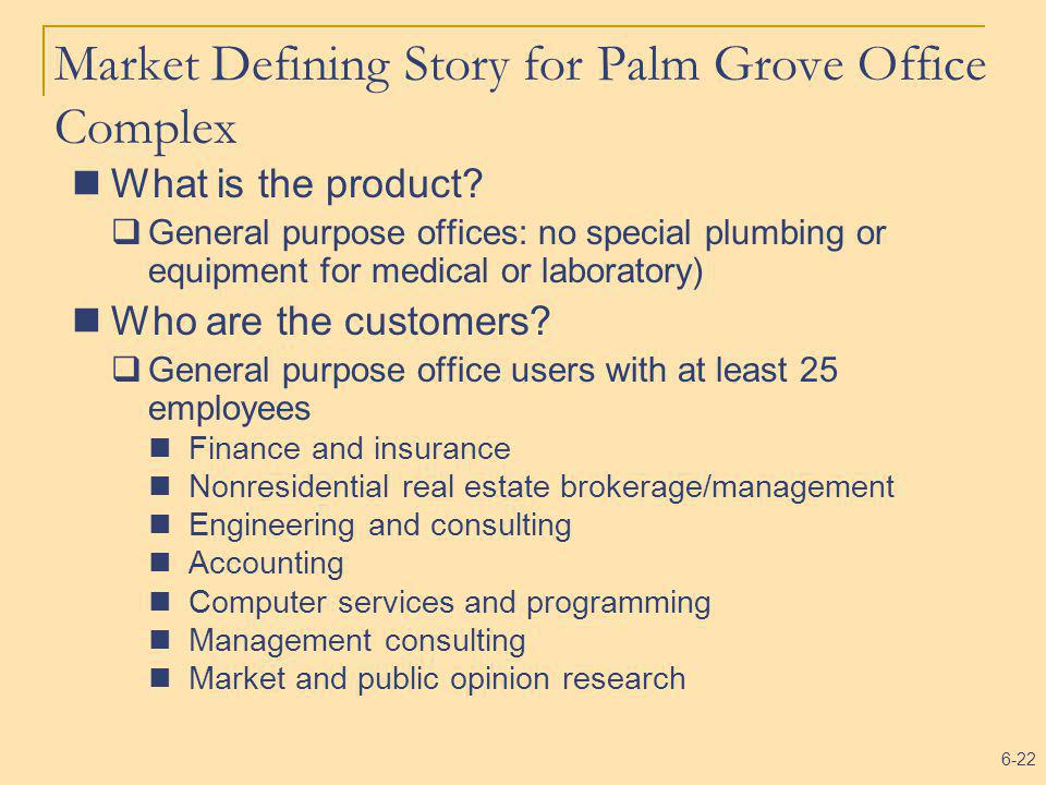 6-22 Market Defining Story for Palm Grove Office Complex What is the product? General purpose offices: no special plumbing or equipment for medical or