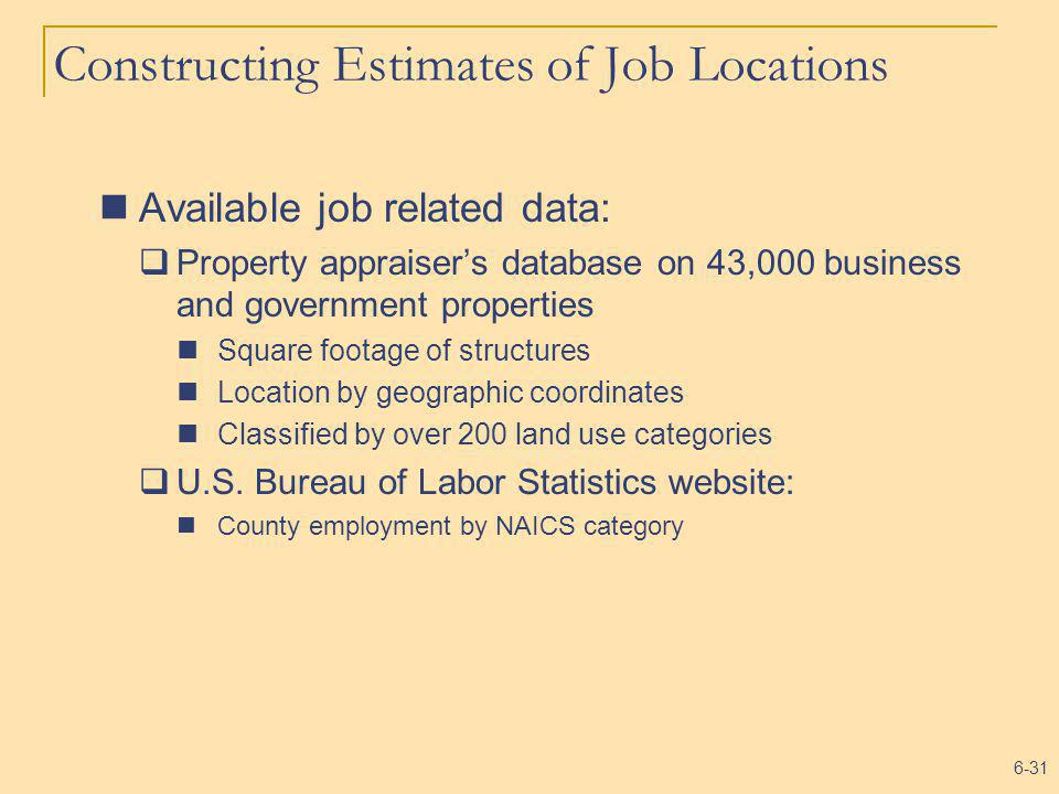6-31 Constructing Estimates of Job Locations Available job related data: Property appraisers database on 43,000 business and government properties Squ